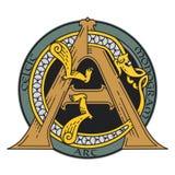 Monograma en el de estilo celta con un dragón Imagenes de archivo