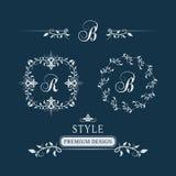 Monograma floral decorativo del vintage Sistema de Logo Templates caligráfico Muestra R, B del emblema de la letra Página del dis ilustración del vector