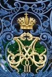 Monograma imperial en la puerta delantera de la ermita Fotografía de archivo