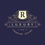 Monograma projekta elementy, pełen wdzięku szablon Elegancki kreskowej sztuki loga projekt Biznesu znak, tożsamość dla restauraci Obrazy Royalty Free
