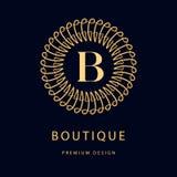 Monograma projekta elementy, pełen wdzięku szablon Elegancki kreskowej sztuki loga projekt Biznesu znak, tożsamość dla restauraci Fotografia Stock