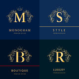 Monograma projekta elementy, pełen wdzięku szablon Elegancki kreskowej sztuki loga projekt Listowy b, M, S, R emblemat również zw Obraz Stock