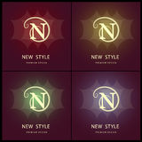 Monograma projekta elementy, pełen wdzięku szablon Elegancki kreskowej sztuki loga projekt literę n emblemat również zwrócić core Obrazy Royalty Free
