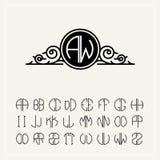 Monograma, una etiqueta barroca con dos letras inscritas en el círculo Un sistema del alfabeto a caber en un círculo puede ser ut stock de ilustración