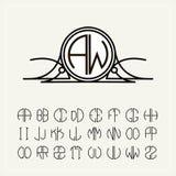 Monograma, una etiqueta del art nouveau con dos letras inscritas en el círculo Un sistema del alfabeto a caber en un círculo Pued stock de ilustración