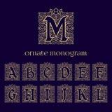 Monogramas adornados con la corona Fotografía de archivo libre de regalías