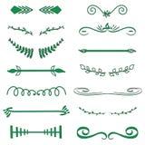 Monogramas decorativos del vector verde y fronteras caligráficas Señalización de la plantilla, logotipo, etiqueta, etiqueta engom stock de ilustración