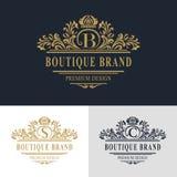 Monogramdesignbeståndsdelar, behagfull mall Calligraphic elegant linje konstlogodesign Märka emblemtecken B, S, C för royalty royaltyfri illustrationer