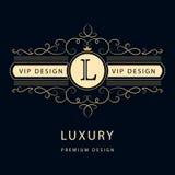 Monogramdesignbeståndsdelar, behagfull mall Elegant linje konstlogodesign Affärstecken, identitet för restaurangen, royalty, Bout Royaltyfri Bild