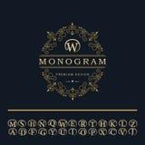Monogramdesignbeståndsdelar, engelska märker emblemet Fotografering för Bildbyråer