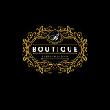 Monogramdesignbeståndsdelar, behagfull mall Elegant linje konstlogodesign Affärstecken, identitet för restaurangen, royalty, Bout Fotografering för Bildbyråer