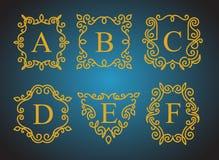 Monogramlogouppsättning Vektor Illustrationer