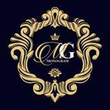 Monogramma dorato di vettore Struttura decorativa lussuosa Invito di cerimonia nuziale illustrazione vettoriale