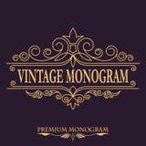 Monogramma floreale semplice e grazioso Blocco per grafici dorato Modello di disegno Confine elegante di logo del lineart, illust illustrazione di stock