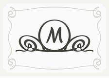 Monogramma grazioso alla moda, linea elegante progettazione di logo di arte nello stile di Art Nouveau illustrazione di stock