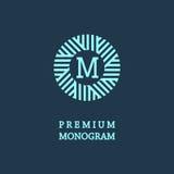 Monogramma grazioso alla moda nello stile di Art Nouveau Fotografie Stock Libere da Diritti