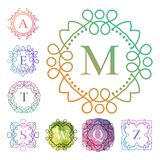Monogrammall med för prydnadvattenfärg för krusidullar den calligraphic eleganta illustrationen för vektor för bokstav för emblem vektor illustrationer