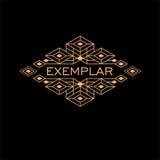Monogramme antique de luxe d'Art Deco Monochrome Gold Flourishes de vintage Emblème ornemental Logo de calibre illustration libre de droits
