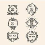 Monogramme, cadre, frontière, insigne, label, crête, ou vintage géométrique Insigni de vecteur de vintage de hippie minimal de lu illustration stock