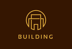 Monogramme construisant Logo Template Design Vector, emblème, concept de construction, symbole créatif, icône Photo stock