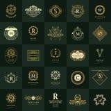 Monogramme de symboles graphiques à traits Calibres de conception de logos de vintage réglés Emblème de lettre de signe d'affaire Image stock