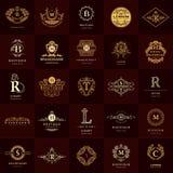 Monogramme de symboles graphiques à traits Calibres de conception de logos de vintage réglés Emblème de lettre de signe d'affaire Photos libres de droits