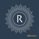 Monogramme de vecteur Modèle élégant de monogramme Dessin linéaire des rayons du style de dessin disponible du soleil illustration de vecteur