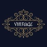 Monogramme de vecteur de vintage Logo élégant d'emblème illustration stock