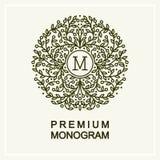 Monogramme floral élégant, schéma illustration stock