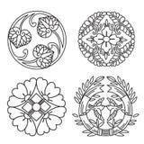 monogramme Linie Gestaltungselemente für Logo Linie Gestaltungselemente für Rahmen Linie Gestaltungselemente für Grenzen Japan-Mu Stockfotografie