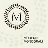 Monogramme moderne de la meilleure qualité, emblème, logo avec une spirale conceptuelle de guirlande Images stock