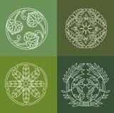 monogrammen De Bloemenelementen van het lijnontwerp voor Embleem, Kaders en Grenzen in Moderne Stijl Royalty-vrije Stock Afbeelding