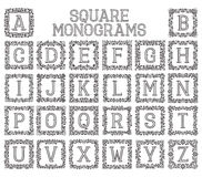 Monogrammes de vintage réglés dans les cadres floraux carrés Image libre de droits
