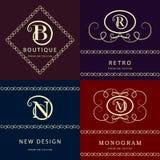 Monogrammgestaltungselemente, würdevolle Schablone Elegante Linie Kunstlogodesign Buchstabe M, N, R, B emblem Auch im corel abgeh Stockfotos