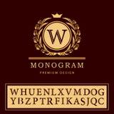 Monogrammgestaltungselemente, würdevolle Schablone Elegante Linie Kunstlogodesign Buchstabeemblem W Retro- Weinlese-Insignien Stockfotografie