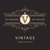 Monogrammgestaltungselemente, würdevolle Schablone Elegante Linie Kunstlogodesign Geschäftszeichen, Identität für Restaurant, Abg Lizenzfreie Stockbilder