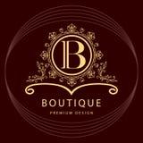 Monogrammgestaltungselemente, würdevolle Schablone Elegante Linie Kunstlogodesign Geschäftszeichen, Identität für Restaurant, Abg Stockfotos