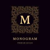 Monogrammgestaltungselemente, würdevolle Schablone Elegante Linie Kunstlogodesign Geschäftszeichen, Identität für Restaurant, Abg Stockbilder