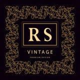 Monogrammgestaltungselemente, würdevolle Schablone Elegante Linie Kunstlogodesign Geschäftszeichen, Identität für Restaurant, Abg Lizenzfreie Stockfotos