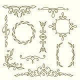 Monogrammgestaltungselemente, würdevolle Schablone Elegante Linie Kunstlogodesign, -rahmen und -grenzen Auch im corel abgehobenen Stockfotografie