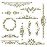 Monogrammgestaltungselemente, würdevolle Schablone Elegante Linie Kunstlogodesign, -rahmen und -grenzen Auch im corel abgehobenen Lizenzfreie Stockbilder