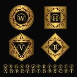 Monogrammgestaltungselemente, würdevolle Schablone Elegante Linie Kunstlogodesign Satz des Goldgeschäftszeichens, Identität für R Lizenzfreies Stockbild