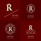 Monogrammgestaltungselemente, würdevolle Schablone Elegante Linie Kunstlogodesign Zeichen R emblem Auch im corel abgehobenen Betr Lizenzfreie Stockbilder
