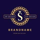 Monogrammgestaltungselemente, würdevolle Schablone Elegante Linie Kunstlogodesign Zeichen S Retro- Weinlese-Insignien oder Firmen Stockbilder