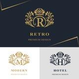 Monogrammgestaltungselemente, würdevolle Schablone Kalligraphische elegante Linie Kunstlogodesign Beschriften Sie Emblem, R, M, H Stockbild