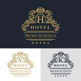 Monogrammgestaltungselemente, würdevolle Schablone Kalligraphische elegante Linie Kunstlogodesign Beschriften Sie Emblem, V, K, H Stockbilder