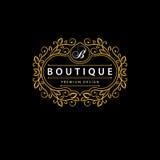 Monogrammgestaltungselemente, würdevolle Schablone Elegante Linie Kunstlogodesign Geschäftszeichen, Identität für Restaurant, Abg Stockbild