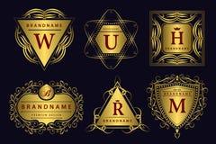 Monogrammgestaltungselemente, würdevolle Schablone Kalligraphische elegante Linie Kunstlogodesign Goldemblem Geschäftszeichen für Stockfotos