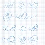 Monogrammi disegnati a mano decorativi Contrassegno del modello, logos, etichette, autoadesivi, carte Elementi classici di proget illustrazione vettoriale