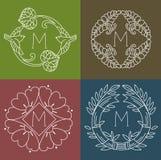 monogrammi Linea elementi floreali di progettazione per il logo, le strutture ed i confini nello stile moderno Fotografie Stock